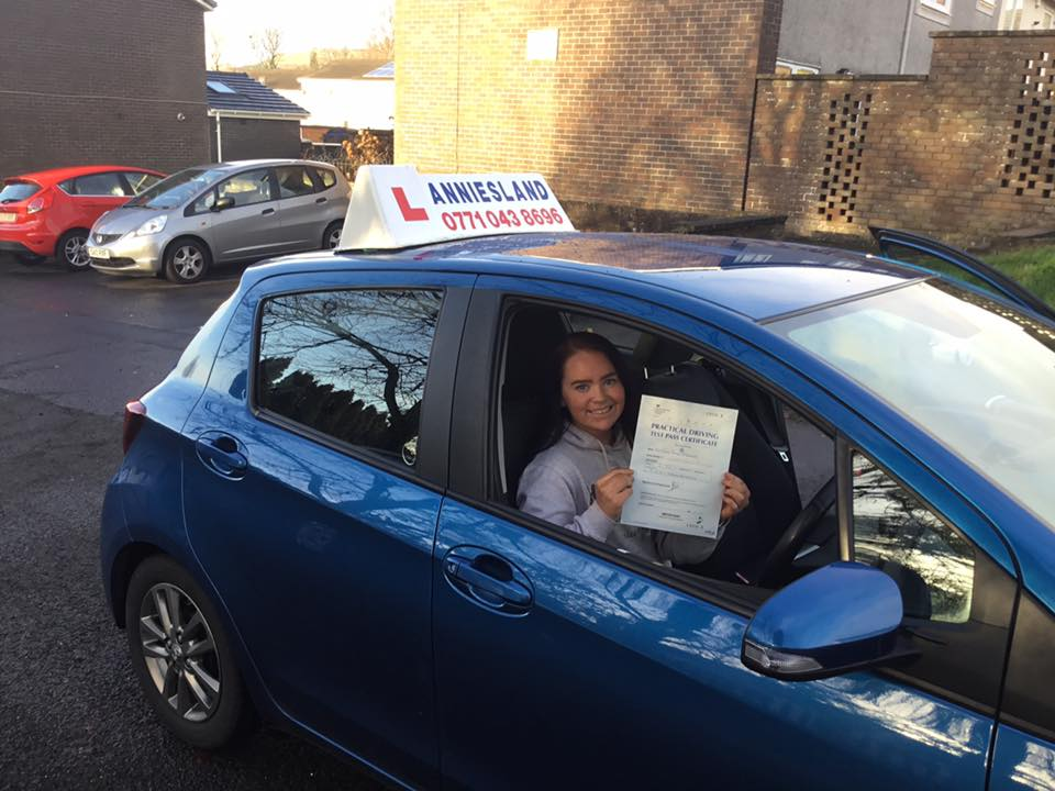 Chloe McGonagle successfully passed their driving test with Anniesland Driving School