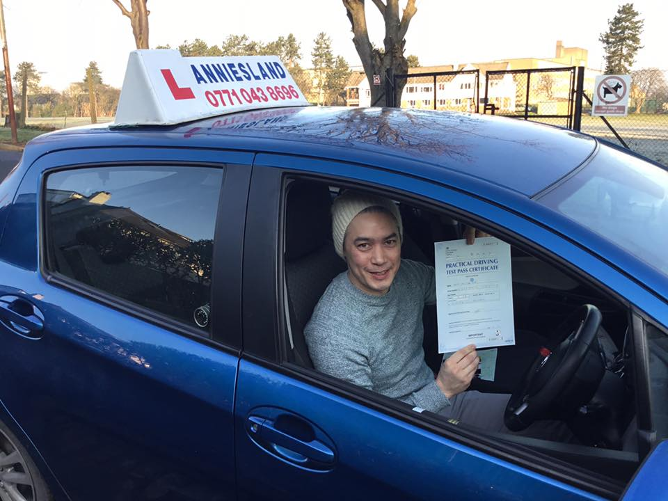 David Wan successfully passed their driving test with Anniesland Driving School