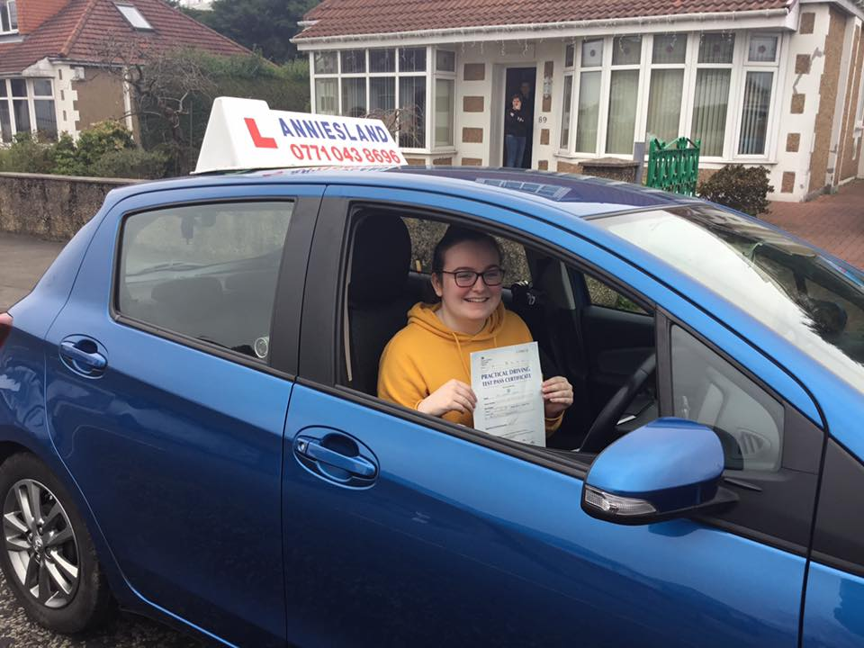 Niamh Slavin successfully passed their driving test with Anniesland Driving School