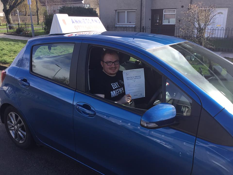 Darren Dolan successfully passed their driving test with Anniesland Driving School