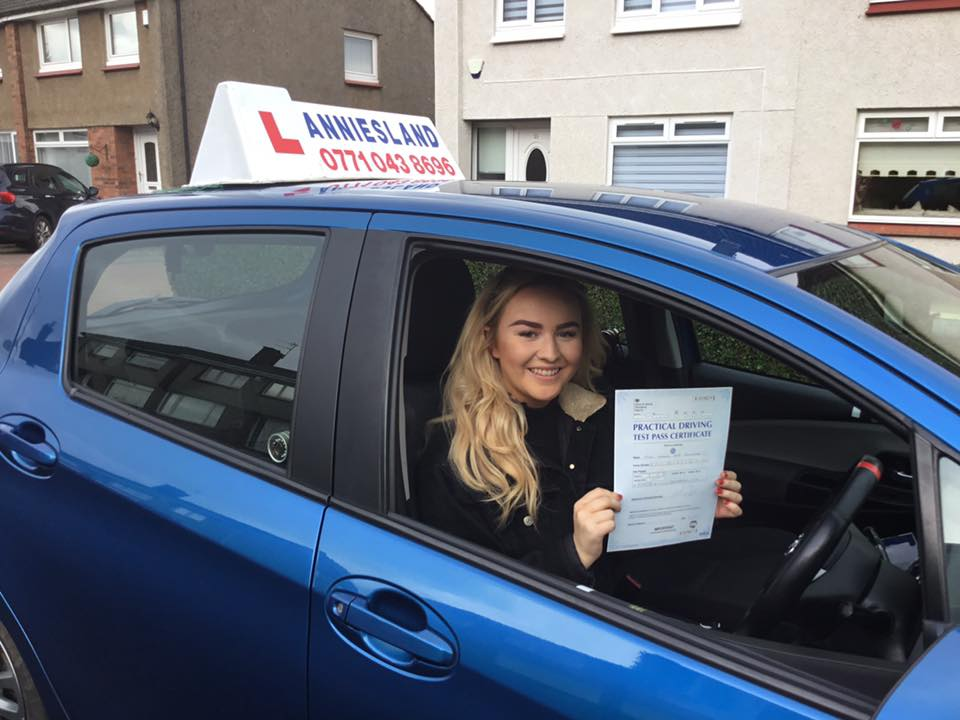 Hannah Bryceland successfully passed their driving test with Anniesland Driving School