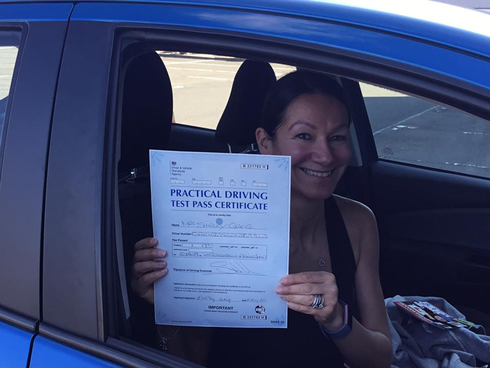 Shirley Greig successfully passed their driving test with Anniesland Driving School