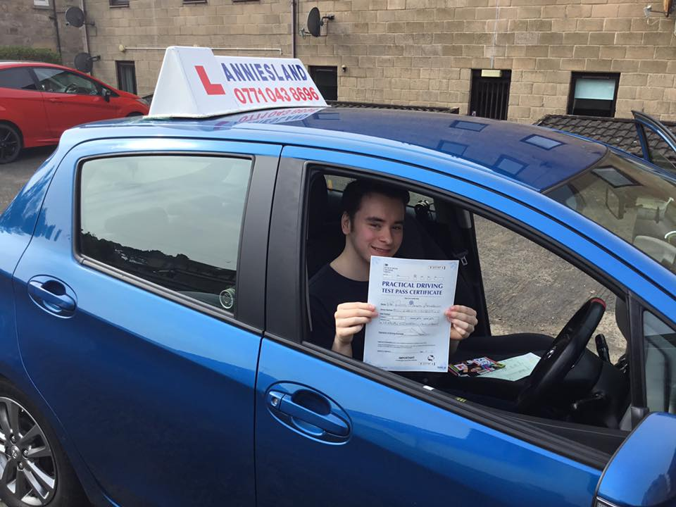 Rhys Bourhill successfully passed their driving test with Anniesland Driving School