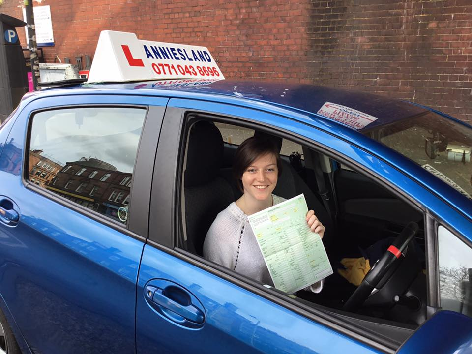 Louise Hackman successfully passed their driving test with Anniesland Driving School
