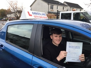 Mathew Ryan successfully passed their driving test with Anniesland Driving School